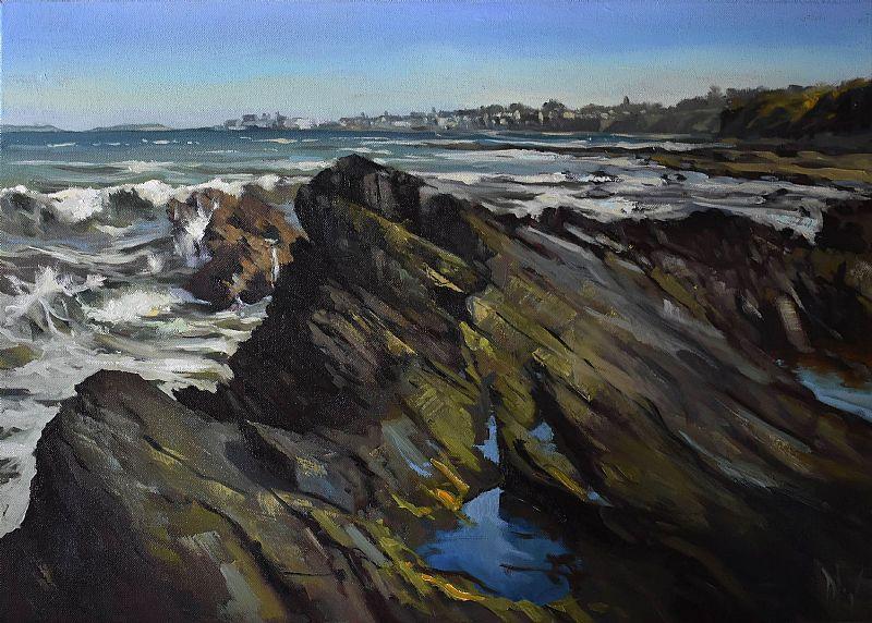 Rough Sea at Hampton Coast (View towards Skerries)