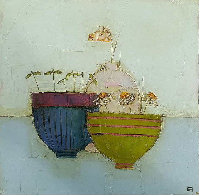 Eithne  Roberts - Seedlings and daisy bowl