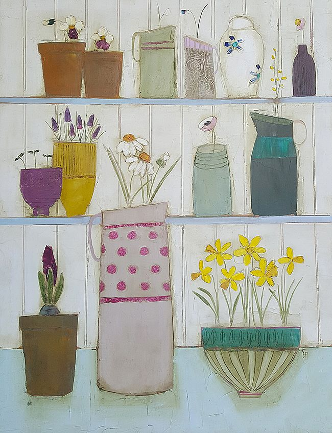Eithne  Roberts - Shelflife with daffodils