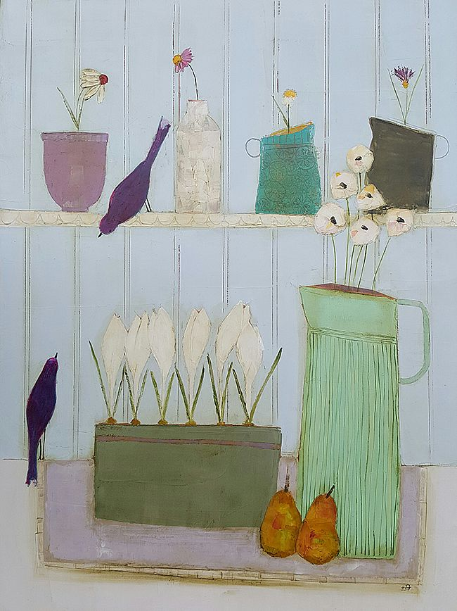 Eithne  Roberts - Shelflife with two birds