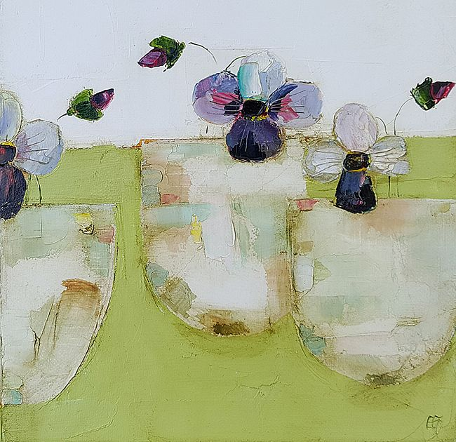 Eithne  Roberts - Small violas in little cups