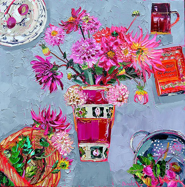 Lucy Doyle - Still life with plums and dahlias