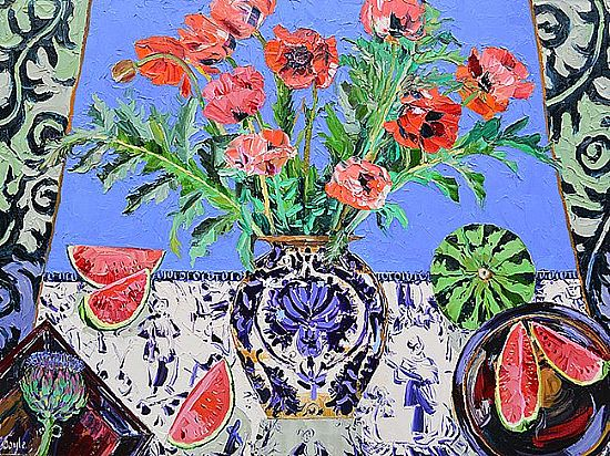 View Still life with poppies, artichokes  and watermelons