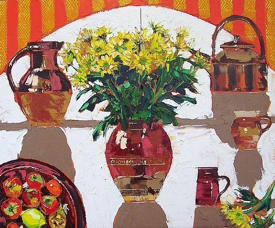 View Still life with yellow chrysanthemums