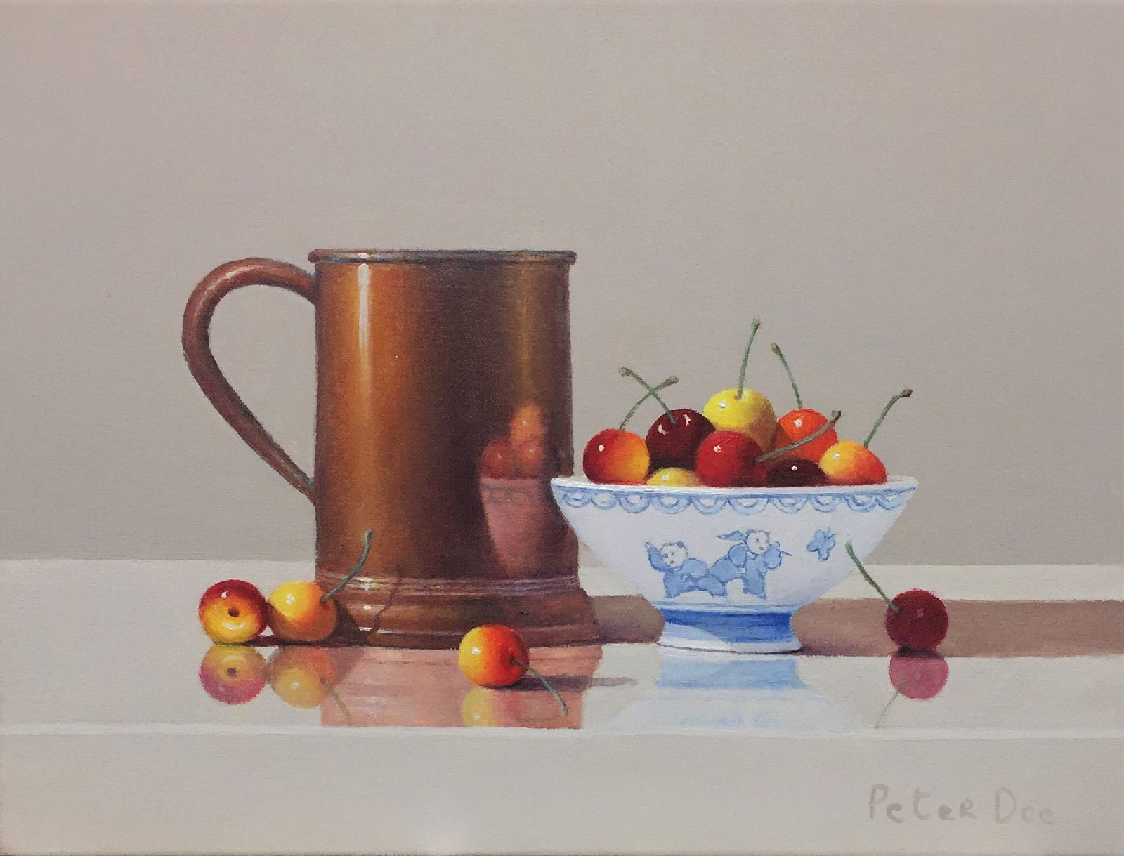 Still Life with Copper Tankard and Cherries  by Peter Dee