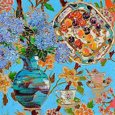 View Still life with hydrangeas