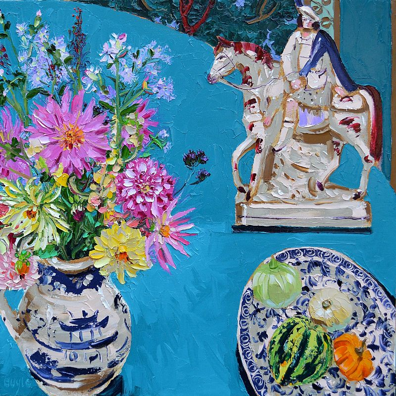 Lucy Doyle - Still life with Dahlias and Plums