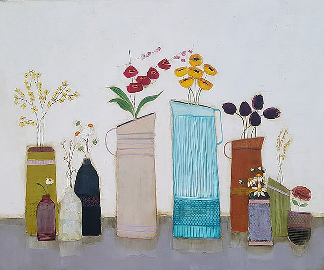 Eithne  Roberts - Summer blooms in big blue jug