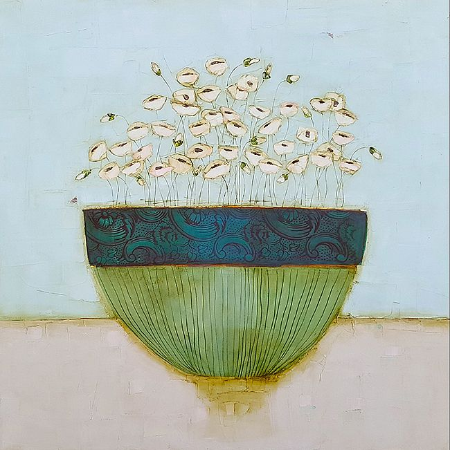 Eithne  Roberts - Tiny white blossoms in china bowl