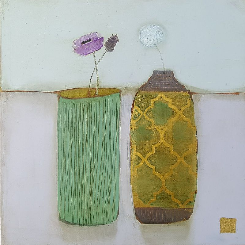 Eithne  Roberts - Tiny Green and gold pots