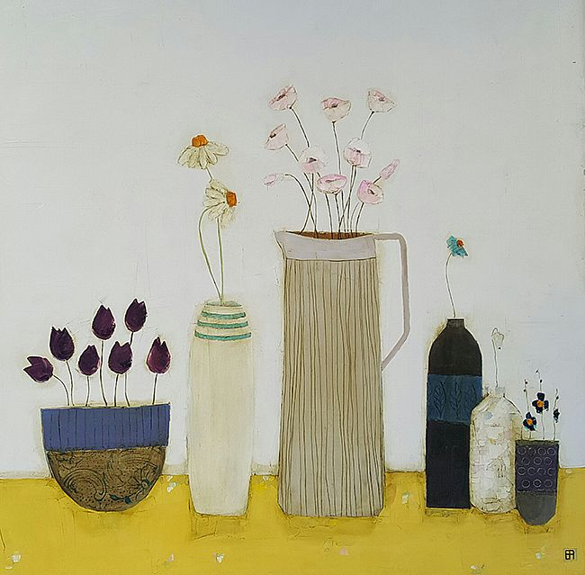 Eithne  Roberts - Tulip bowl, large jug and bottles