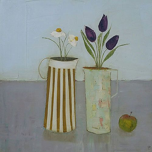 Eithne  Roberts - Tulip jug and apple