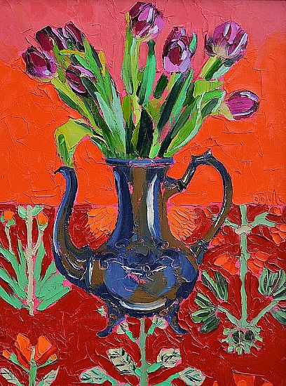 View Tulips in Blue Coffee Jug