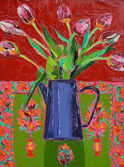 View Tulips on Indian cloth