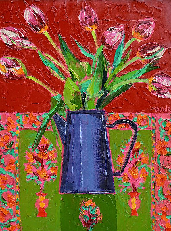 Lucy Doyle - Tulips on Indian cloth
