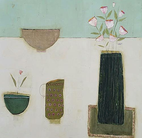 Eithne  Roberts - Two bowls green jug and dark vase