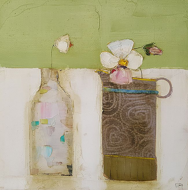Eithne  Roberts - White bottle dark jug on linen
