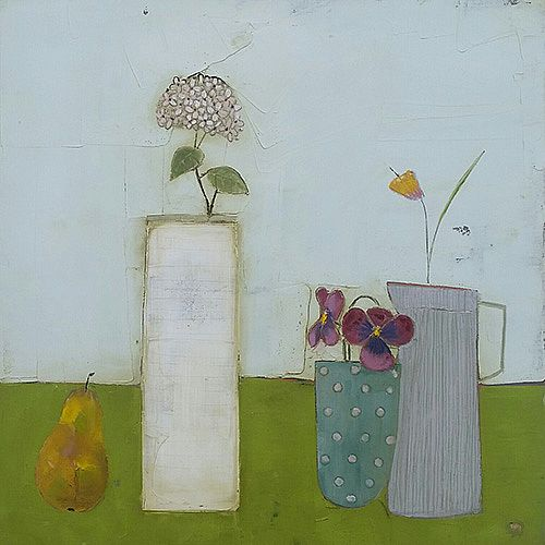 Eithne  Roberts - White Vase and Pear