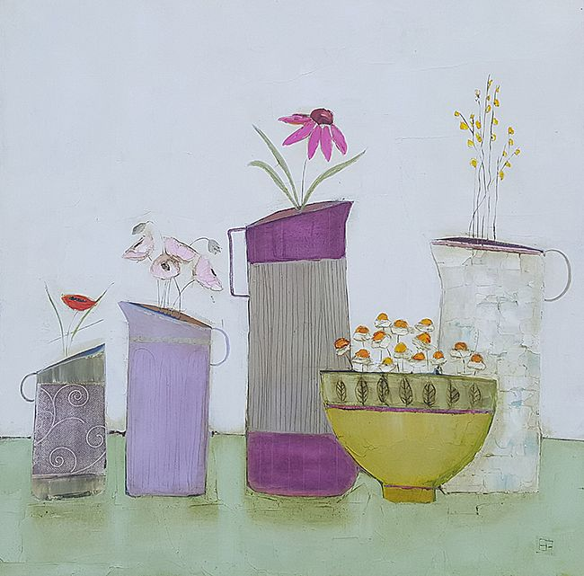 Eithne  Roberts - Yellow bowl and 4 jugs