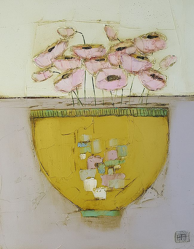 Eithne  Roberts - Yellow bowl and pinks
