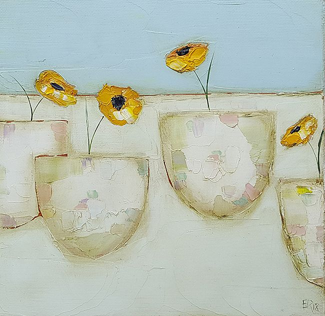 Eithne  Roberts - Yellow buttercup pots
