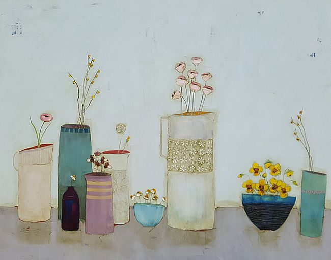 Eithne  Roberts - Yellow pansies and large white jug