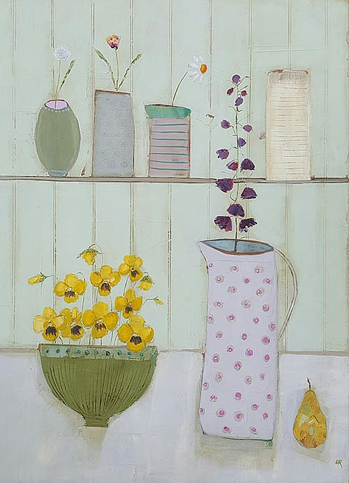 Eithne  Roberts - Yellow pansies, dotty jug and pear
