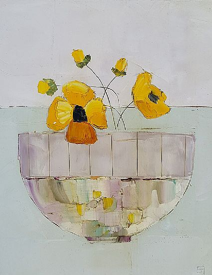 View Yellow pansy bowl