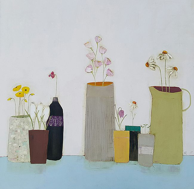 Eithne  Roberts - Yellow poppies, crocus pot and other blooms