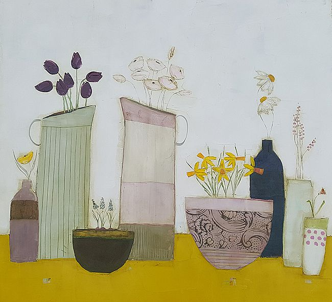 Eithne  Roberts - Yellow shelf big pink daffodil bowl